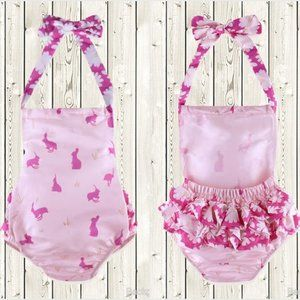Other - Easter Bunny Rabbit Baby Girls Pink Ruffle Romper